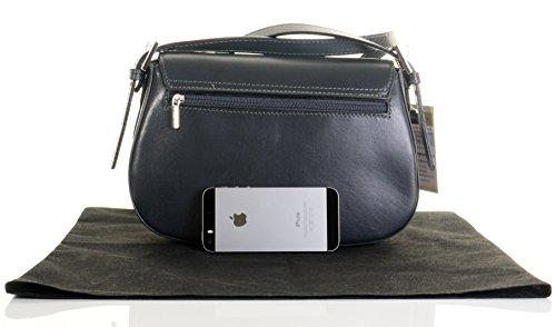 Italienisches Leder weich gepolstert strukturierte Saddle Bag Stil Schulter oder Crossbody-Bag.Umfasst eine Marke schützenden Aufbewahrungstasche Dunkelgrau