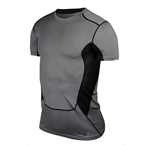 bobora-compresion-hombre-ajustado-athletic-apparel-capa-base-sportwear-gear-tops-camiseta-gris-gris-