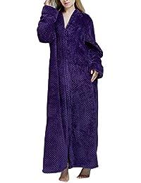 De Las Mujeres De Gran Tamaño Zip Fleece Bata De Longitud Completa De Franela Suave Robe
