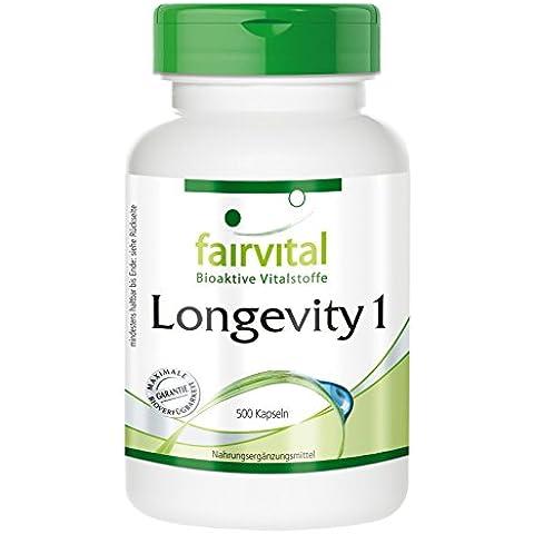 Fairvital - Longevity 1 - Multivitaminico, minerali, carotinoidi, enzima OPC + Q10 - 500 capsule