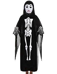 dc9cf403c9d171 Ansenesna Halloween Kostüm Mädchen Jungs Skelett Cosplay Gruselig Mantel +  Maske + Handschuhe Outfits Set