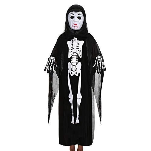 Ansenesna Halloween Kostüm Mädchen Jungs Skelett Cosplay Gruselig Mantel + Maske + Handschuhe Outfits Set (F)