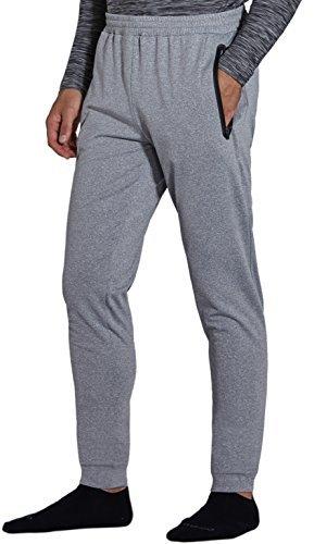 KomPrexx Jogginghose Herren Fleece Sweatpants Trainingshose Sporthose Joggers mit Reißverschluss Taschen M4F(Gray,M)