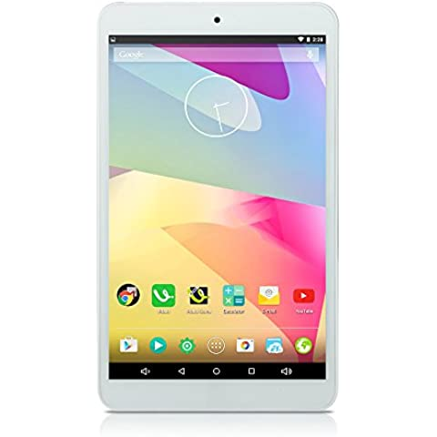 iRULU 8 pulgadas Google Android 5.1 Lollipop Tableta PC, Quad Core, pantalla multi-touch IPS, resolución de 1280*800, 16GB Nand Flash - Blanco delantero con cubierta de Metal