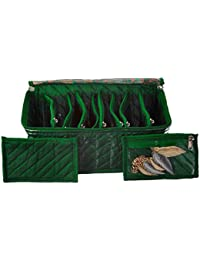 Amazon Brand - Solimo Fabric Jewellery Box with 10 Transparent Pouches, Green