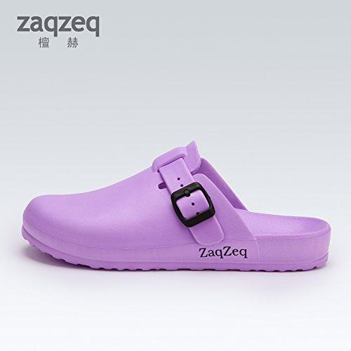 CWJDTXD Zapatillas de verano Zapatillas de quirófano hombres y mujeres médicos de guardia zapatos quirúrgicos blancos zapatos de enfermera blanca antideslizantes baotou zapatos de playa, 36, violeta