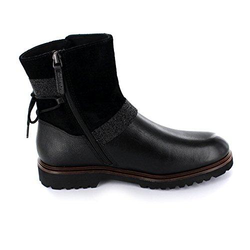 Tamaris Damen Winterboot aus Leder/Synthetik in schwarz Black