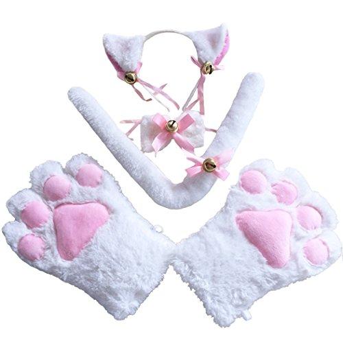 FORLADY Banda para el pelo Orejas de gato Juego de garras de gato con campanillas Garra de gato Garras de oso Guante Anime Accesorios de cosplay periféricos