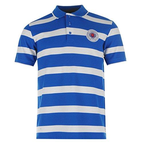Rangers Herren Streifen Polo Shirt Kurzarm Fussball Tee Top Polohemd Poloshirt Royal/White Extra Lge (Streifen Ärmel Rugby Lange)