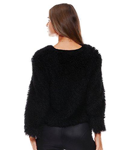 Sentao Donna Morbido Maglione Maglia Allentato Casuale Maglioni Inverno Pullover Tops Magliette Nero