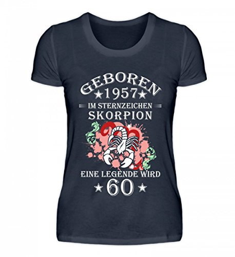 Shirtee Hochwertiges Damen Organic Sternzeichen Skorpion Wird 60 Tiefblau