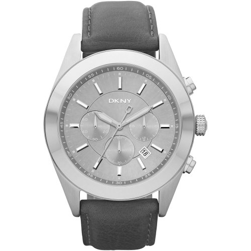 DKNY Gents Chronograph Grey Leather Strap Watch NY1510