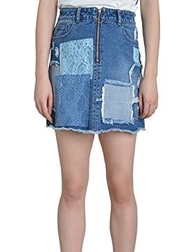 Falda Vaquera Mini - detalle de abrasión Denim falda de Mini Bajo Deshilachado AURORALACE
