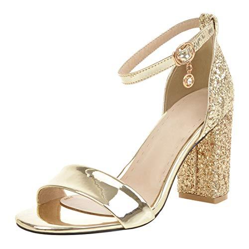 Artfaerie Damen Glitzer High Heel Sandalen Blockabsatz mit Knöchelriemchen und 8cm Absatz Sommer Sandaletten (EU 41,Goldene)