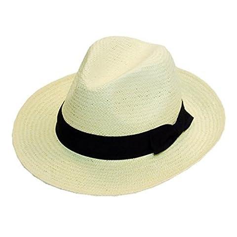 Paille pliable qualité Blanc Chapeau Fedora Panama avec ruban noir, taille unique