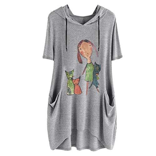 SHOBDW Damen Sommer Herbst süß Karikatur Kitty Drucken Langarm/Kurzarm Hoodie mit Taschen Frauen Stilvoll Elegant Irregular Saum Große Größe Lose Tops Bluse Shirts -