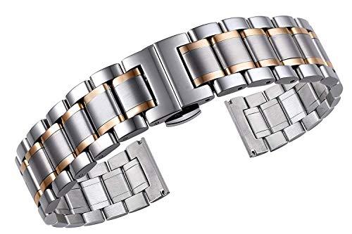 Xinsushp Home 22mm Herren Premium Oyster Style Two Tone-Uhrenarmbänder aus Silber und Rotgold mit gekrümmten und geraden Enden und schwerem Typ 316L-Edelstahl