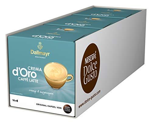 NESCAFÉ Dolce Gusto Dallmayr Crema d\'Oro Caffè Latte (48 Kaffeekapseln, 48 Getränke, cremig & ausgewogen) 3er Pack (3 x 16 Kapseln)