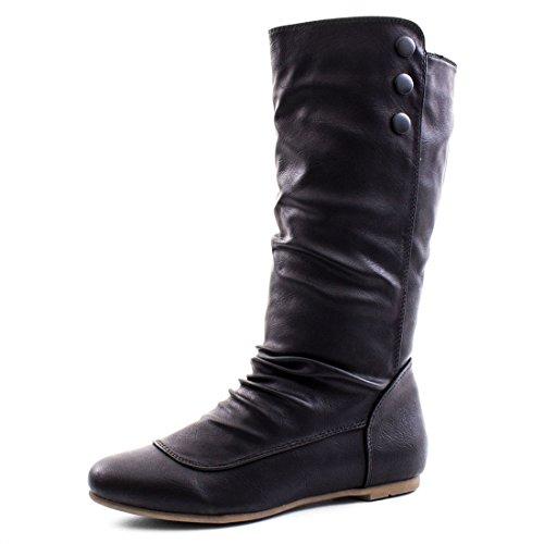 Damen Schlupf Stiefel Stiefeletten Boots Lederoptik Schwarz