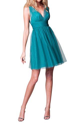 Ivydressing Damen Sweetheart V-Ausschnitt A-Linie Tuell Rueckenfrei Kurz Cocktailkleid Abendkleid Blau