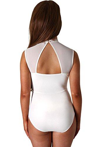 shelovesclothing Damen Wickel Body Weiß