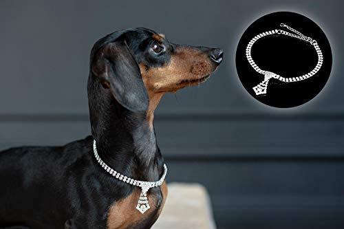 tierlando® Elegante Halskette, Collier für Hunde, edles Design, Strass-Steine (03 Krawatte, XS 25-35 cm)