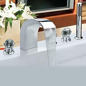Contemporary Style Chrome Finish Stainless Steel Widespread Badewanne Armatur mit Handheld Wasserhahn