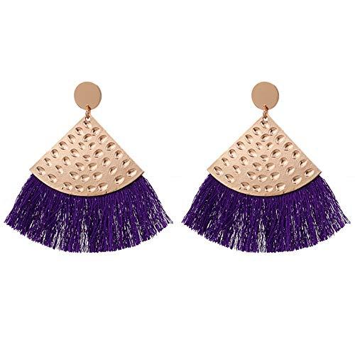 QIANZHIHEA Ohrringe Fächerförmige Fransen-Legierung Ohrringe Weiblichen Böhmischen Stil Retro Metalldraht Ohrringe, P (Trailer Für P)