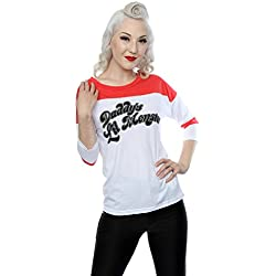 Suicide Squad mujer Harley Quinn Daddy's Lil Monster Camisa 3/4 béisbol manga XX-Large Blanco rojo
