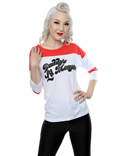 Suicide Squad Donna Harley Quinn Daddy's Lil Monster Shirt manica 3/4 baseball X-Large Bianco rosso