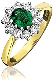 18ct Yellow Gold Emerald and 0.08ct Round Brilliant Cut Diamonds Vintage Ring