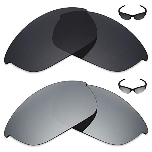 MRY 2Paar Polarisierte Ersatz Linsen für Oakley Sonnenbrille Half Jacket 2.0-Reichhaltige Option Farben, Stealth Black & Silver Titanium