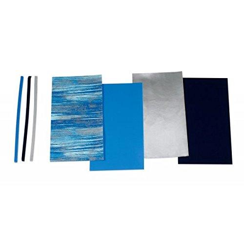 """Wachsplatten / Verzierwachsstreifen im Sortiment \""""Blau gemustert (Mischung)\"""" (4 Bögen + 9 Streifen / 175 x 80 x 0,5 mm) TOP QUALITÄT"""
