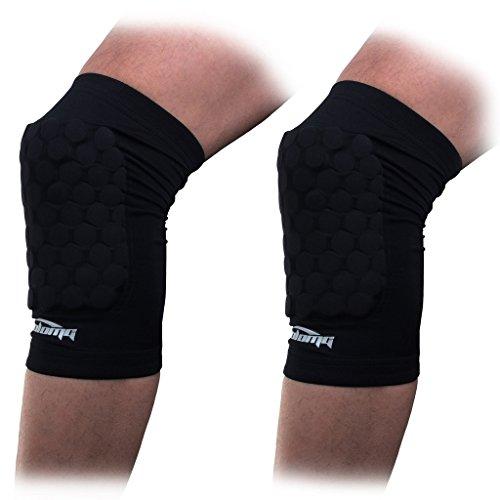 COOLOMG Basketball Knieschoner Kniebandage Kompression gepolstert Anti Rutsch für Damen Herren 1 Paar M L XL