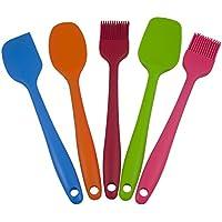 Set di 5 Utensili da Cucina, Guowall Spatola in silicone Cucchiaio,Raschietto e Pennello in Silicone