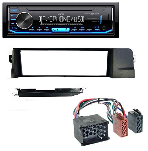 caraudio24 JVC KD-X351BT AUX USB Bluetooth MP3 Autoradio für BMW 3er E46 Profiversion Rundpin -