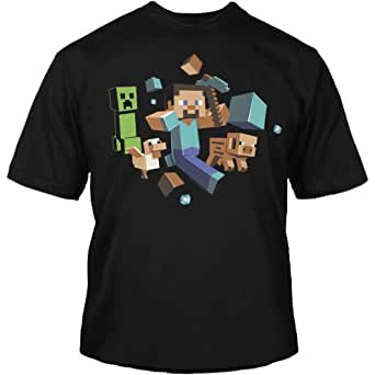 Minecraft run t-shirt away brille dans la nuit -  Bleu - Small