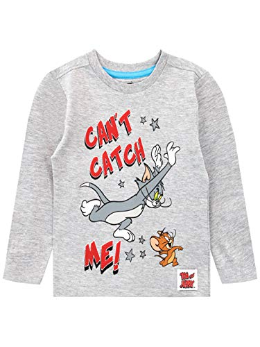 Copripiumino Tom E Jerry.Tom And Jerry T Shirt A Manches Longues Garcon Gris 3 4 Ans