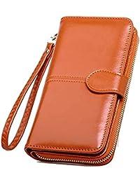 SKUDGEAR Long Bi-Fold Zipper Wallet Large Capacity PU Leather Clutch Women's Wristlet