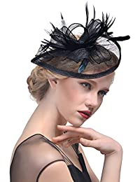 ZYCC Fascinator Wide Strips Fleur Pince à cheveux Cocktail Chapeau Bibi Mariage Formal Occasion