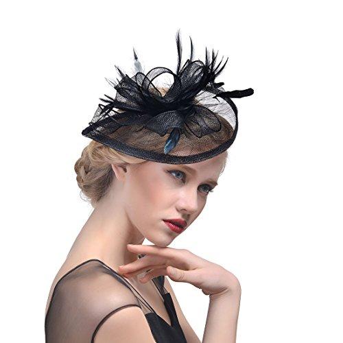 Fascinator Hut Feder Mesh Netz Schleier Party Hut Ascot Hüte Blume Derby Hut mit Clip und Stirnband für Frauen (E1-SCHWARZ)