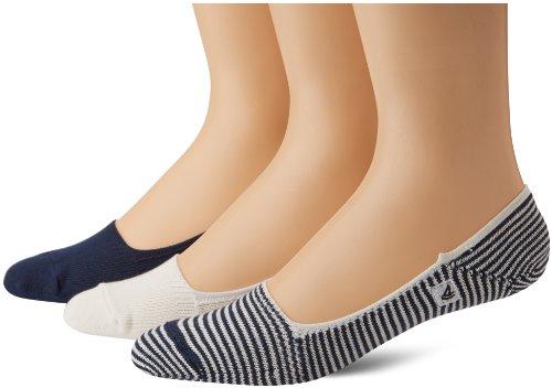 's Skimmers Feed Stripe 3 Pair Pack Liner Socks, Navy/White, 10-13 (Shoe Size 6-12) ()