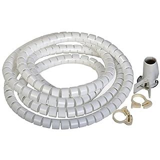ALKAN Flexible-Kabelspirale Spiralschlauch Kabelordner mit Einziehhilfe/Einfädelhilfe Bündelbereich Ø 25mm (2,5 cm) Länge 2.5 m WEISS