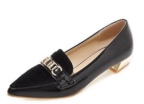 AllhqFashion Damen Blend-Materialien Eingelegt Spitz Zehe Niedriger Absatz Pumps Schuhe Schwarz