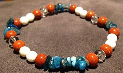 bracelet Minceur REGIME lithothérapie pierre naturelle Jaspe Rouge Magnésite blanc Cristal de Roche Apatite bleue