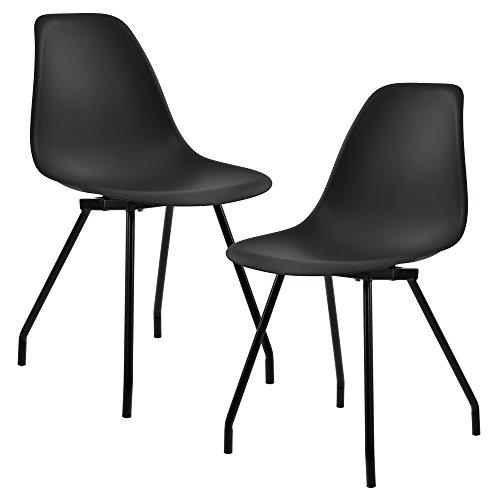 [en.casa]® Stabiler Esszimmerstuhl im edlen Design - 2er-Set - 83 x 46cm schwarz (Küche Stühle-set Von Zwei)