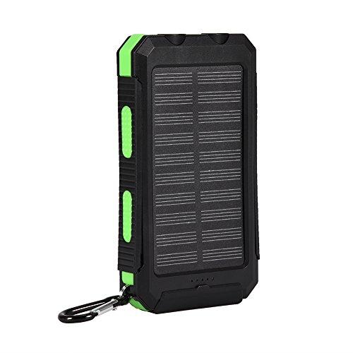Solar DIY-KIT für Schnell-Ladegerät 10000 mAh, VBESTLIFE Tragbare Mobile Power Bank Outdoor mit Kompass, Dual USB Externer Akku Pack für iphone6s/7 Plus, iPad, Samsung Galaxy und Android Telefon (grün)