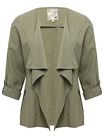 M&Co Ladies Three Quarter Length Sleeve Open Waterfall Draped Casual Lightweight Linen Jacket Khaki 10