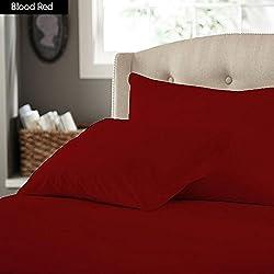 SACRO 100% algodón egipcio de 500 hilos 27 cm bolsillo profundo 3 piezas Juego de sábanas en IKEA doble equipado tamaño Color rojo Patrón sólido
