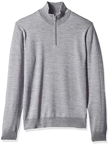 Goodthreads Herren Merino Wool Quarter Zip Sweater Sweatshirt, Grau (heather grey Hea), Large